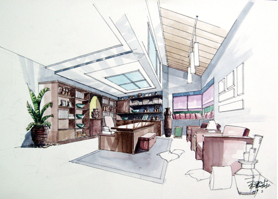 建筑手绘技法教师作品展示